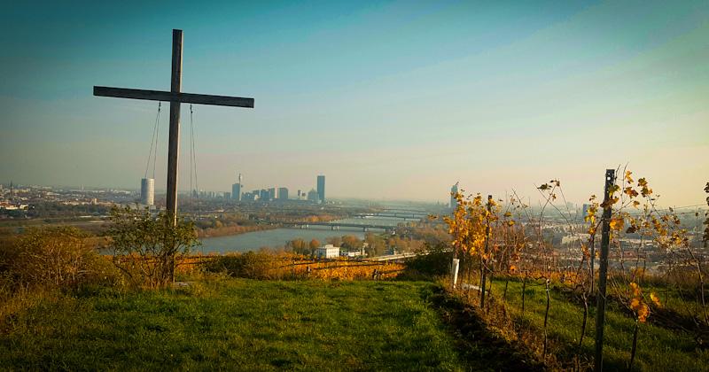 Widok z winnic góra Kahlenberg