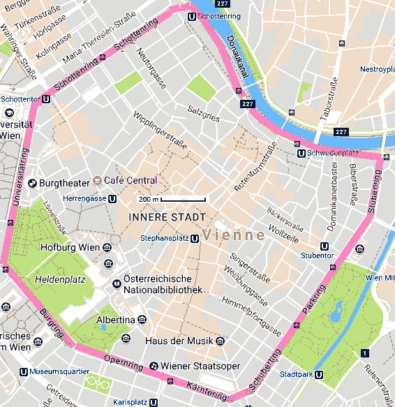 Ring Wiedeński- mapa