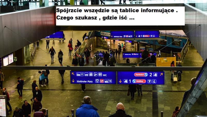 Stacja tablice informujace gdzie isc, wieden
