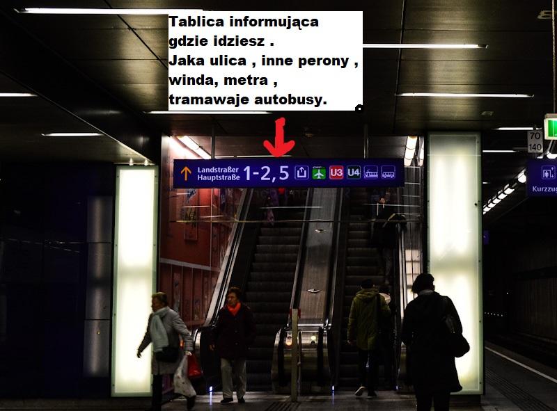 Tablica informujaca gdzie prowadza schody ruchome , wieden