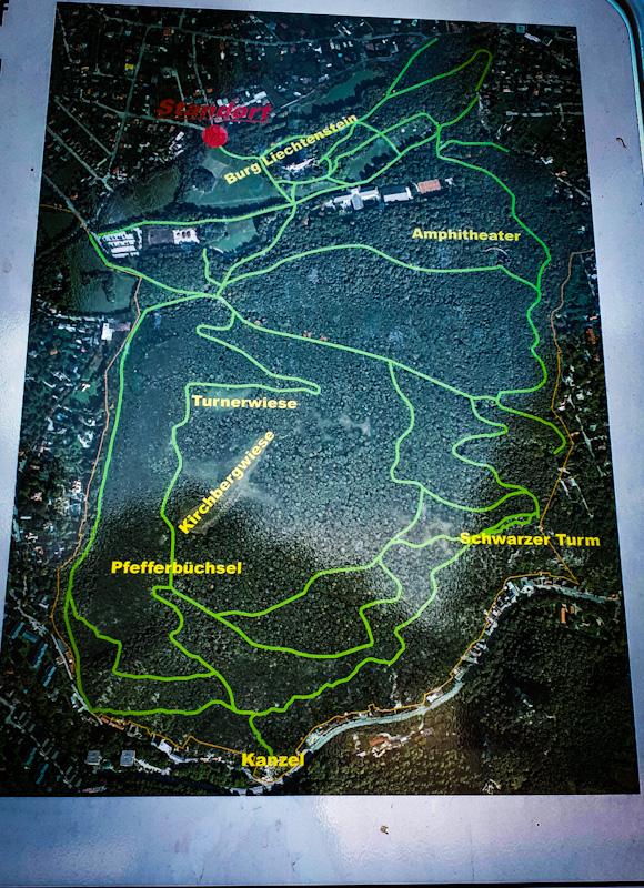 Mapa parku Zamku Liechtenstein