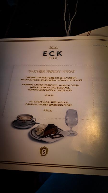 Przkładowe menu , kawiarnia Sacher